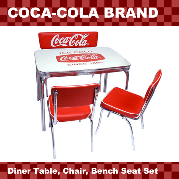 coca cola chairs and tables folding chair cushions lavieen american diner brand table bench seat 4 piece set pj 600dl 105c 2 120c