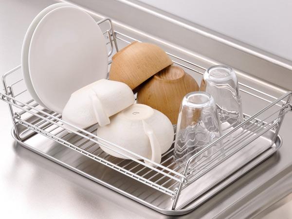 kitchen drainer basket splashback livingut dish sui meister stainless steel folding compact rack large made in japan