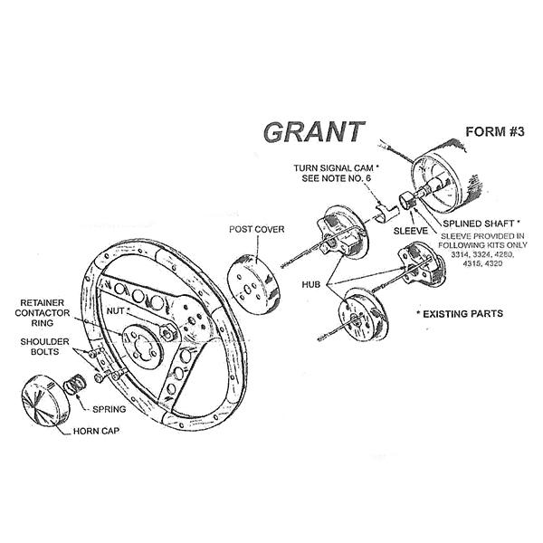 MOONEYES: Grant steering wheel boss adaptor kit 3000 GB