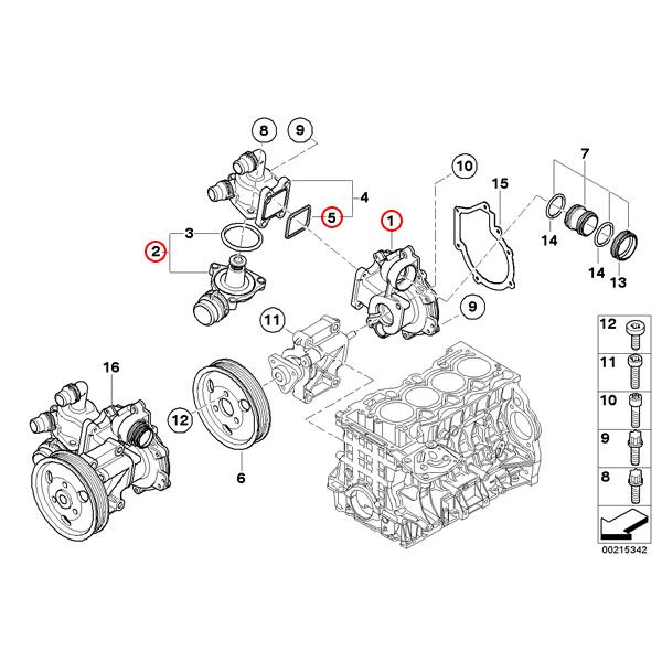 【楽天市場】BMW E90/E91/E92 E46 ウォーターポンプ&サーモスタット(105℃) N42 N46