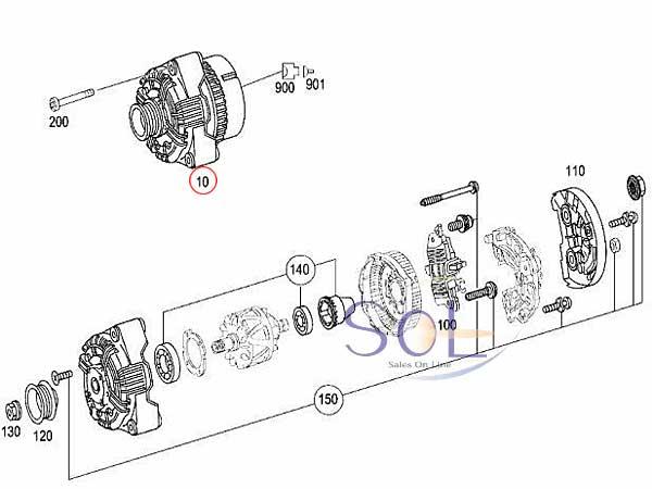【楽天市場】ベンツ W215 W219 W220 R230 オルタネーター 150A CL500 CLS500