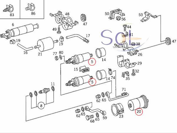 【楽天市場】ベンツ W124 W210 R129 フューエルポンプ 2個 + フィルター 3点セット BOSCH