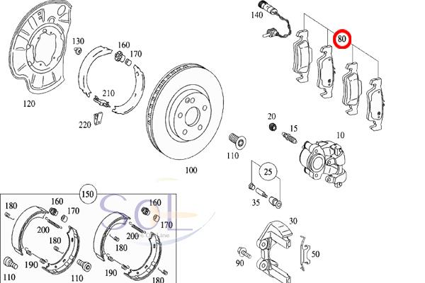 【楽天市場】ベンツ W211 W219 リア ブレーキパッド 左右セット E240 E280 E320 E350