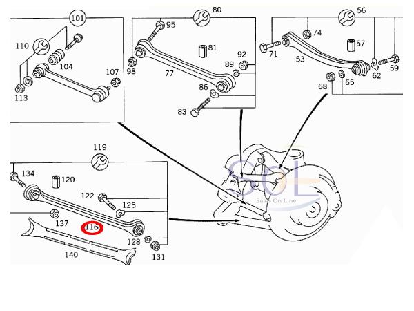 【楽天市場】ベンツ R129 R170 R171 リア ストラットアーム 左右共通 SL320 SL500