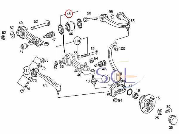 【楽天市場】ベンツ W215 W220 R230 フロント スプリングリンク ベアリング ロアアームブッシュ 左右