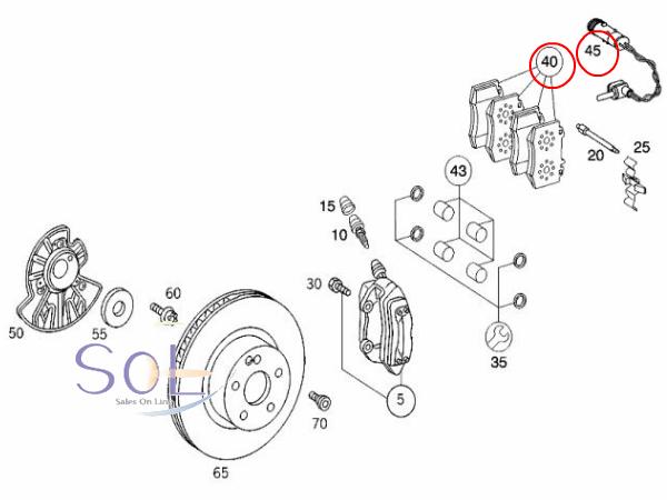 【楽天市場】ベンツ W215 W220 フロント ブレーキパッド パッドセンサー1本セット CL500 CL600