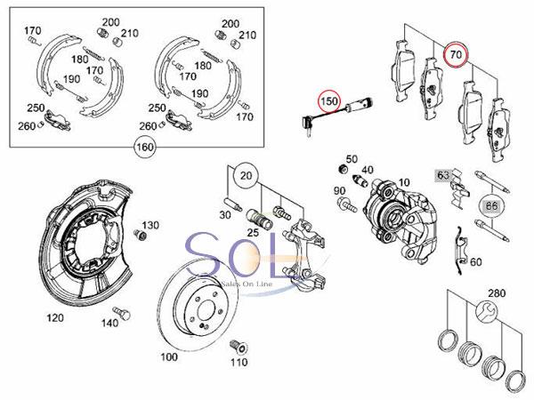 【楽天市場】ベンツ W211 W219 リア ブレーキパッド左右 + パッドセンサー1本 セット E240 E280
