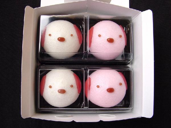 【楽天市場】【引菓子・プチギフト】[紅白犬]どうぶつまんじゅう4ヶ入(和菓子):あわ家惣兵...