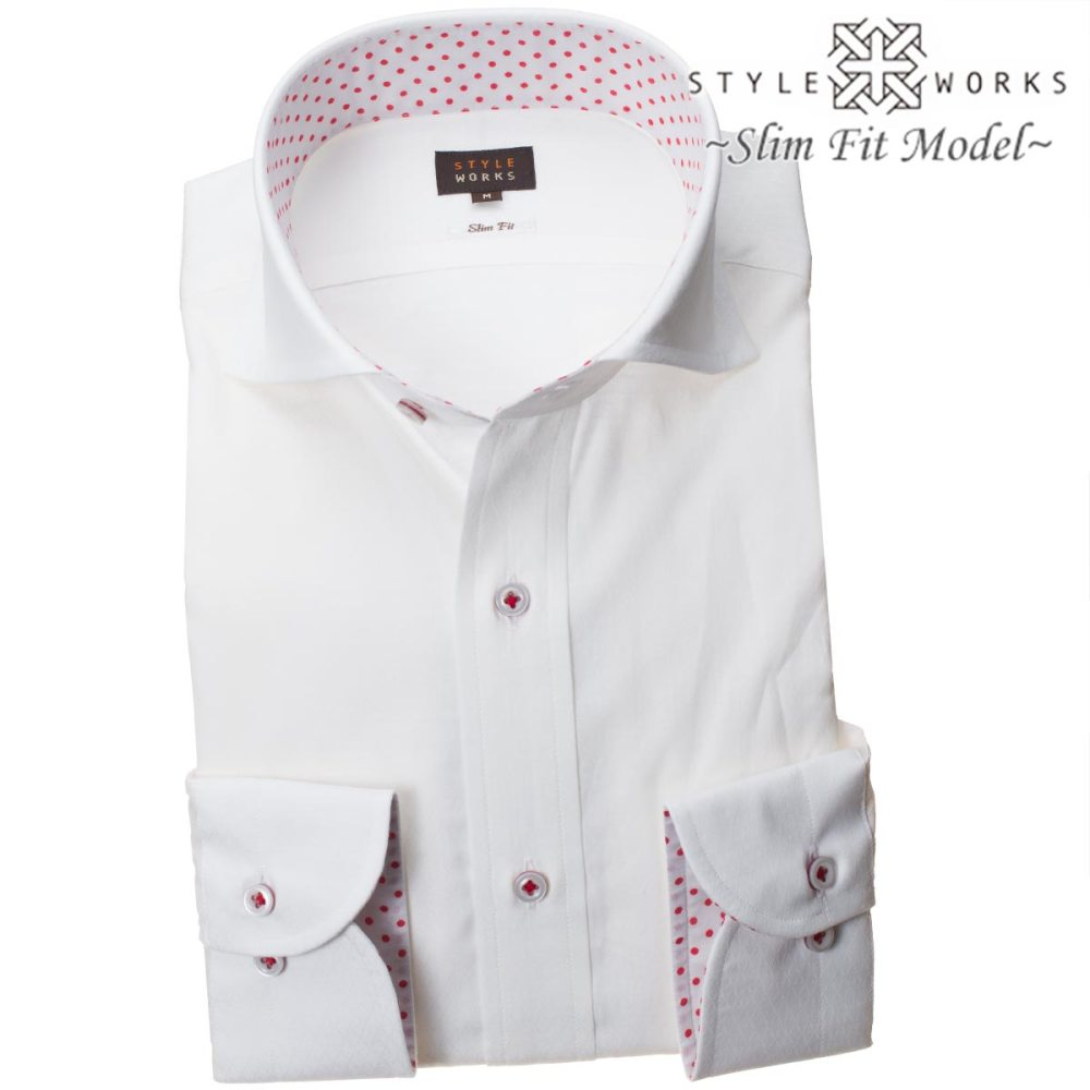 medium resolution of style works 1806 domestic production long sleeves cotton 100 white dress shirt slim fitting cutaway wide color white jacquard diagram check men fs3gm