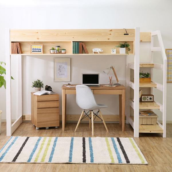 sumica: 木制閣樓單梯系統床木制閣樓床閣樓獸醫床高型簡單天然木北歐生產松宮插座使用成人 | 日本樂天市場