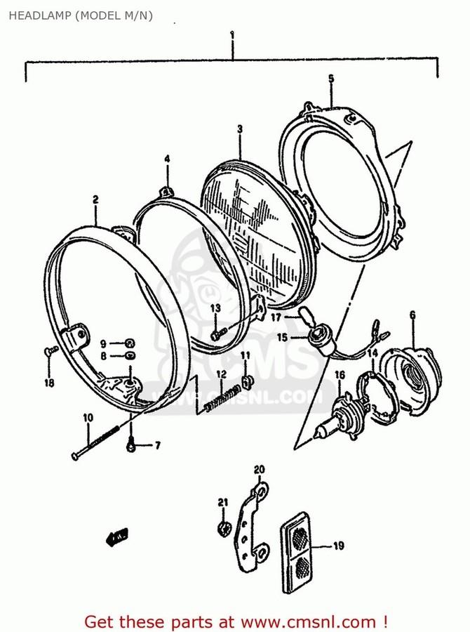 CMS シーエムエス タイヤ ヘッドライト本体·ライトリム バイク/ケース HEADLAMP パーツ ASSY:ウェ