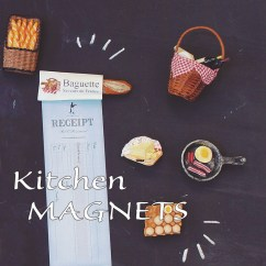 Kitchen Magnets Sponges Reagan 厨房磁铁面包卡布奇诺百吉面包圈薄煎饼腊肉鸡蛋三明治kitchen Magnet
