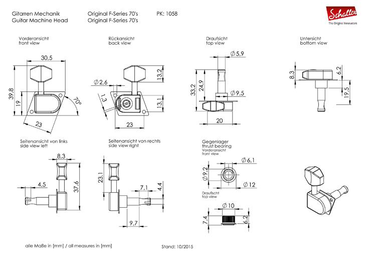 Schaller Tuner Original F-Series 70, 6 left ruthenium Rall