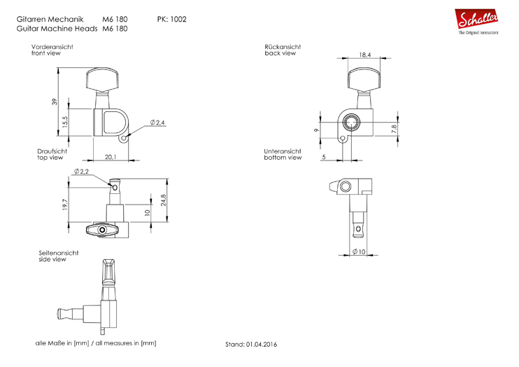 Schaller Tuners M6 180 3L/3R SatinChrome Velvet-Tec® Rall