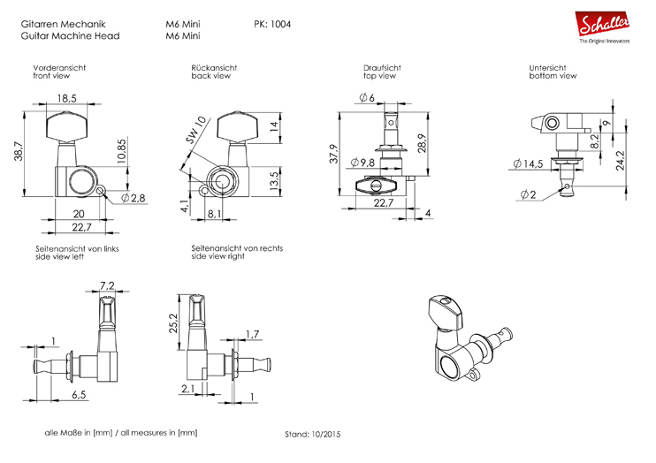 Schaller Tuners M6 Mini 6L/6R VintageCopper V-Tec® Rall
