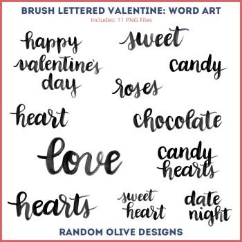 Brush Lettered Valentine - shop.randomolive.com
