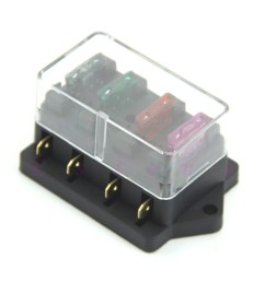 fuse box 4 blade fuse holder with transparent cover diy motorcycle fuse box [ 1000 x 1000 Pixel ]