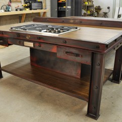 Industrial Kitchen Table Gold Vintage Island