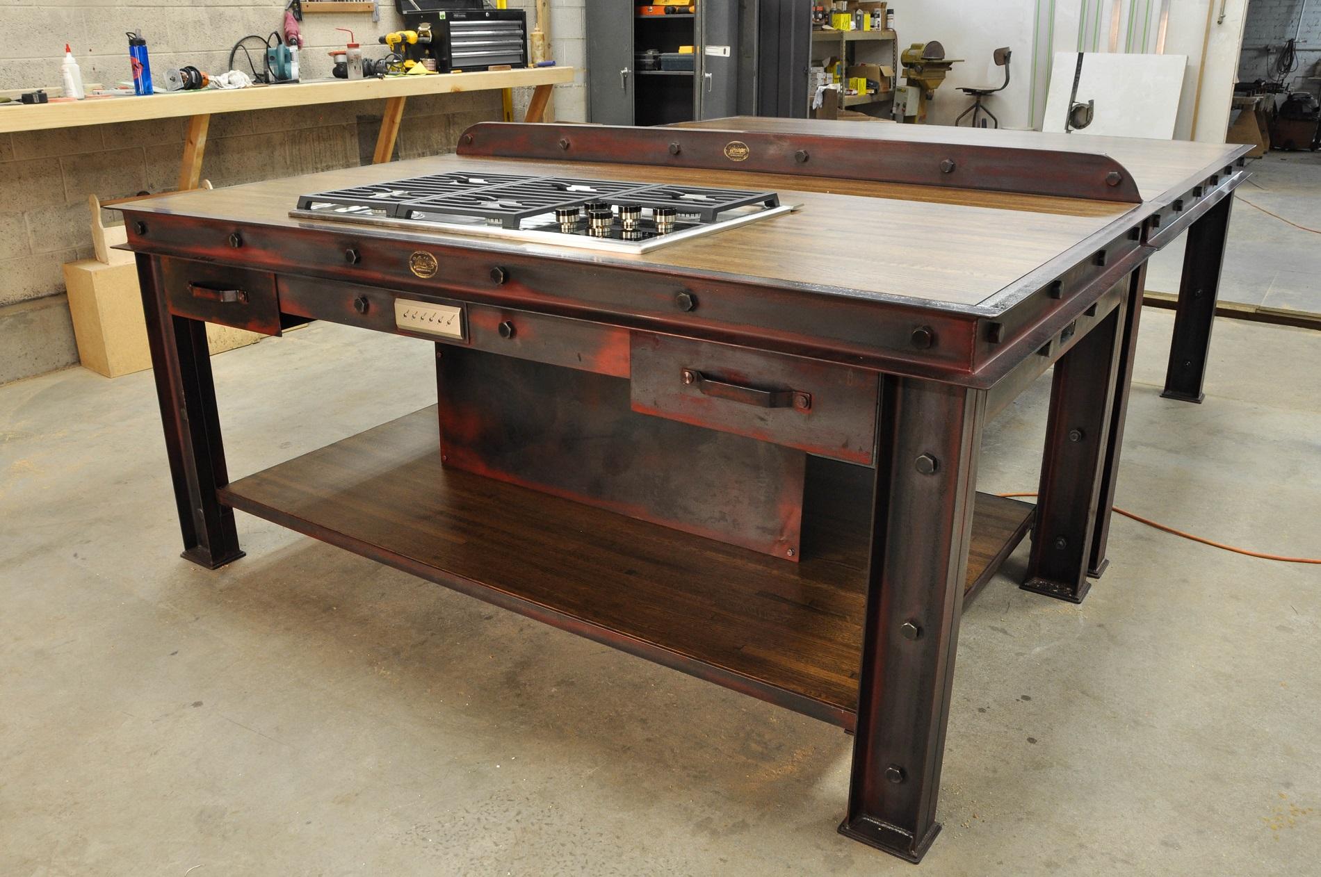industrial kitchen island skinny cabinet vintage