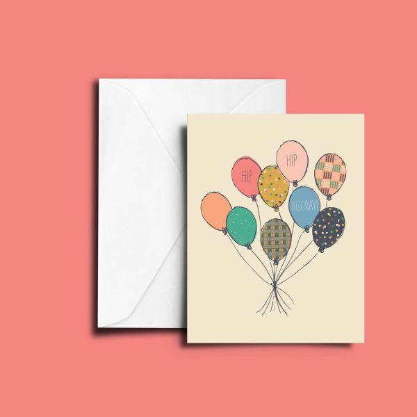 Hip Hip Hooray Balloons Greeting Card