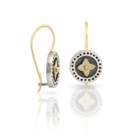 black and silver earrings gold star - Shop Scarab Jewellery