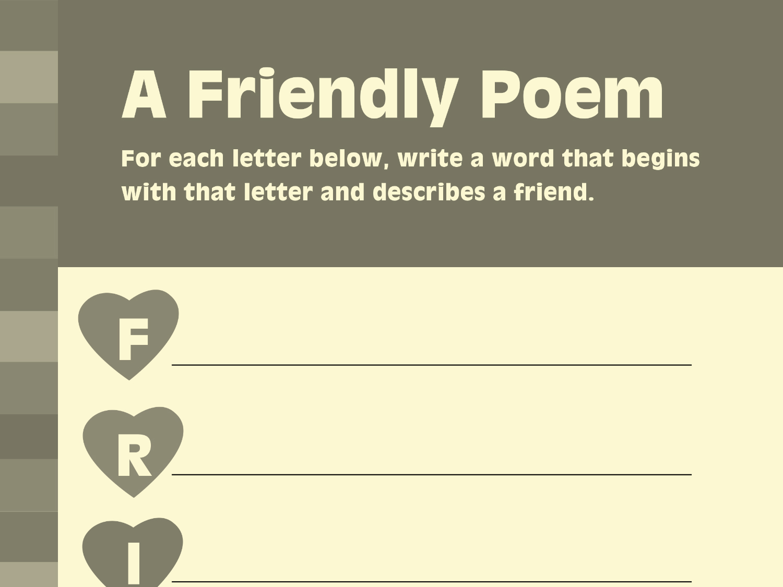 Write Friendship Inspired Poetry
