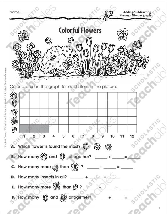 Colorful Flowers (Adding/Subtracting through 18, Bar Graph