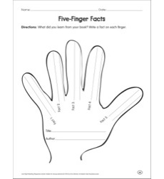 Five-Finger Facts: Reading Response Graphic Organizer by