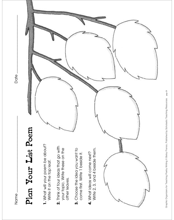 Graphic Organizers for Teaching Poetry Writing by Betsy Franco
