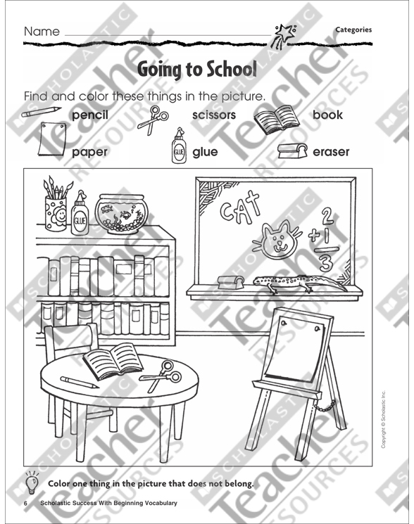 Scholastic Success With Beginning Vocabulary Workbook by