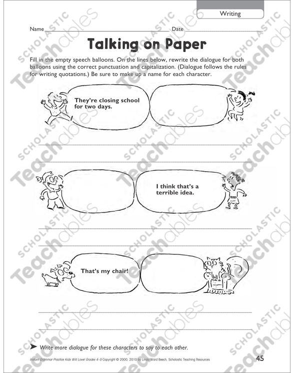Talking on Paper (Writing): Grammar Practice Page (Grades