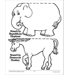 Stand-Up Republican Elephant and Democratic Donkey