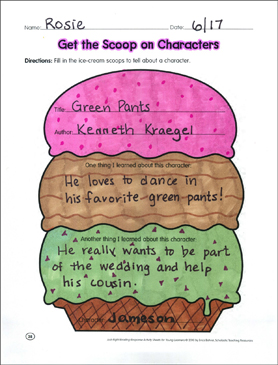 Get the Scoop on Characters: Reading Response Graphic
