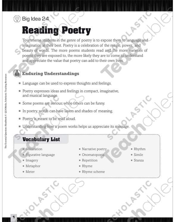 Essential Questions for Language Arts: Reading Poetry by