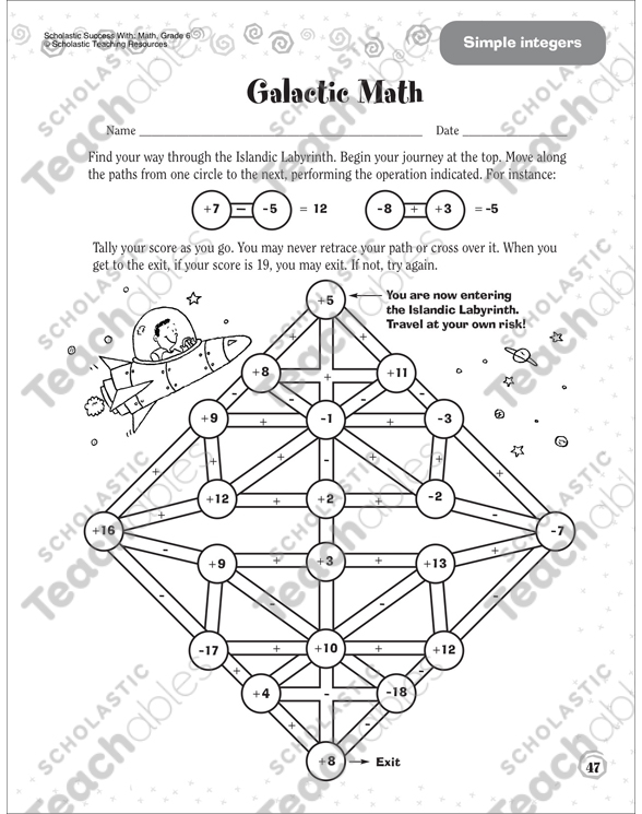 Galactic Math (Simple Integers): Scholastic Success With