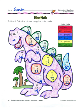Dino-Math (Subtracting 1-Digit from 2-Digit Numbers