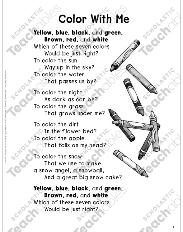 Color With Me (Color Words): Sight Words Poem by