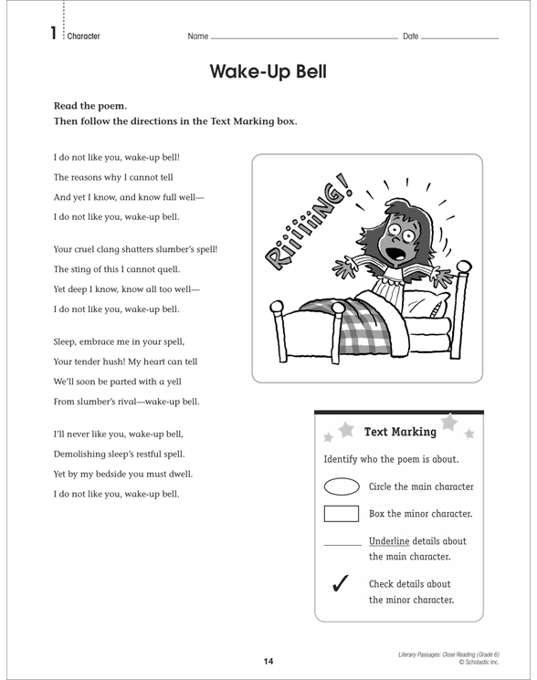 Literary Passages: Close Reading: Grade 6 by Martin Lee