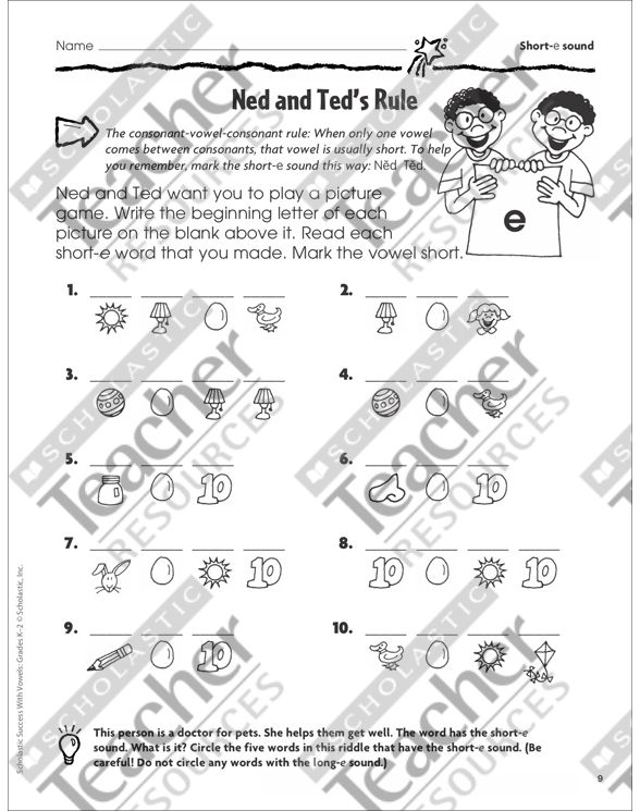 Scholastic Success With Vowels Workbook by