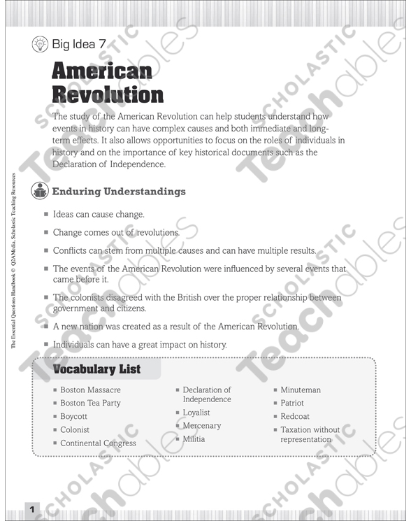 Essential Questions for Social Studies: American Revolution by