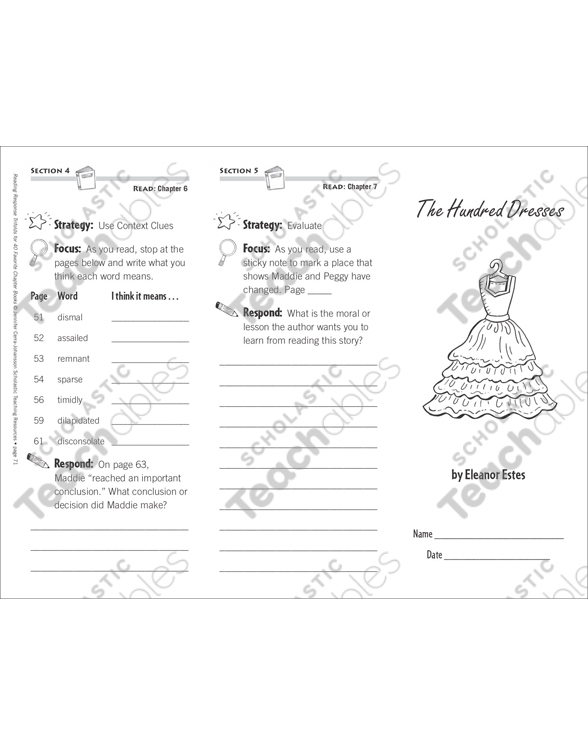 The Hundred Dresses (Level O): Reading Response Trifold by