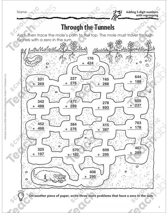 Through the Tunnels (Adding 3-Digit Numbers With