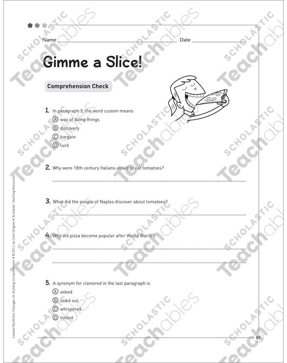 Gimme a Slice! (Readability Levels 4.0, 5.3, 7.5): Leveled