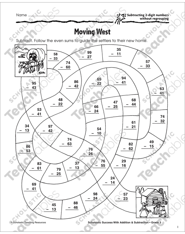 Moving West (Subtracting 2-Digit Numbers Without