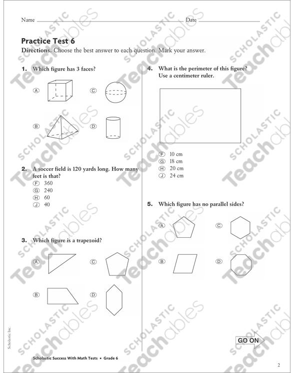 Geometry and Measurement Practice Test 6: Math Skills
