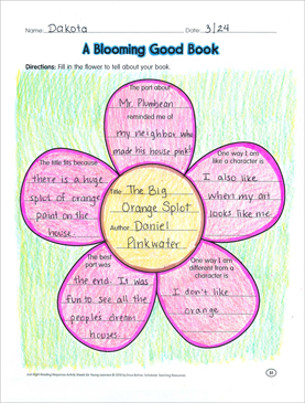 A Blooming Good Book: Reading Response Graphic Organizer by