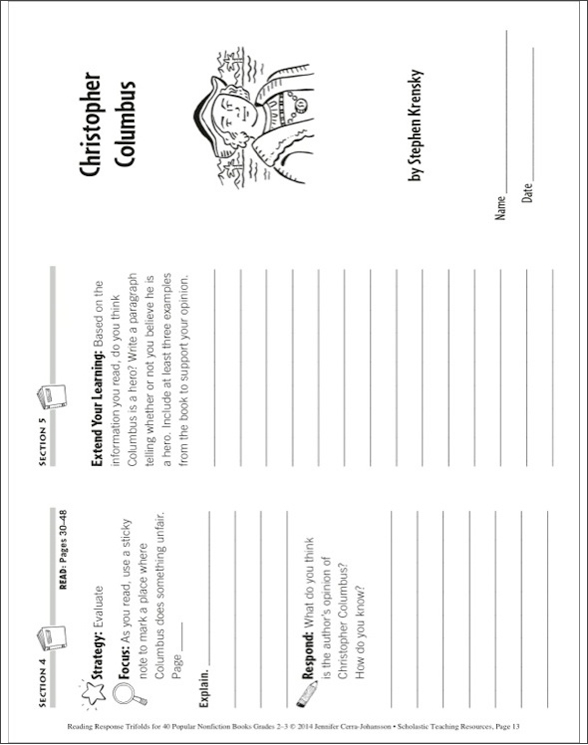 Reading Response Trifolds for 40 Popular Nonfiction Books