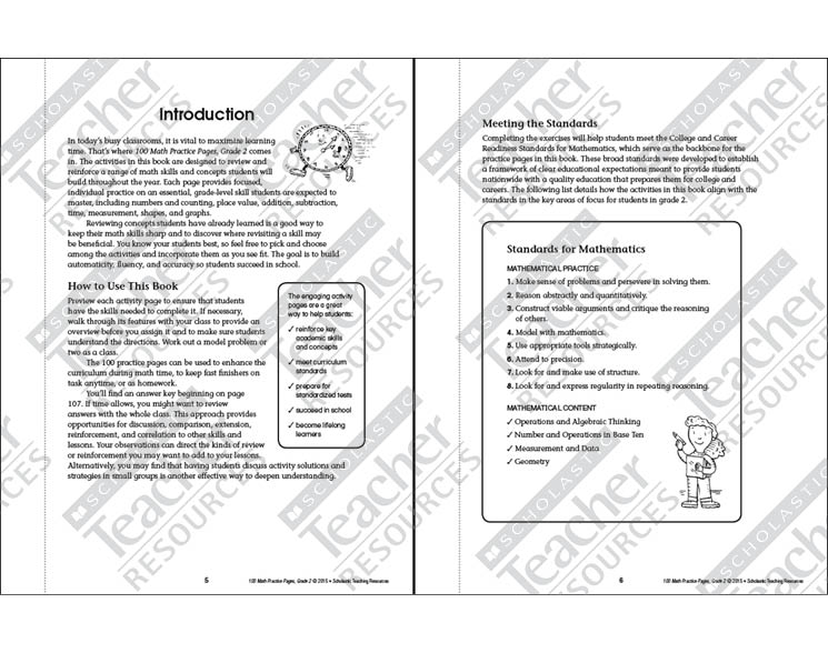 100 Math Practice Pages: Grade 2 by