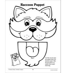 Raccoon Paper Bag Puppet: Pattern by