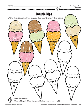 Product : Double Dips (Adding to 18, Doubles): Scholastic